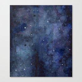 Night Sky Stars Galaxy   Watercolor Nebula Canvas Print