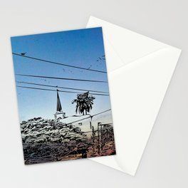 over smal trown the sunset Stationery Cards