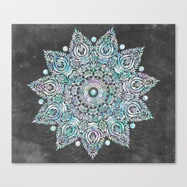 Mermaid Mandala on Deep Gray Canvas Print