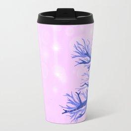 Blue ghost trees on pink speckled sky Travel Mug