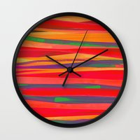 the strokes Wall Clocks featuring Strokes by Rebecca Allen