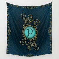 letter Wall Tapestries featuring Letter P by Britta Glodde