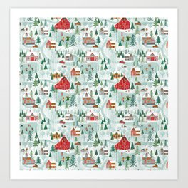 New England Village (pattern) Art Print