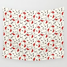 Strange Red Flowers Pattern Wall Tapestry