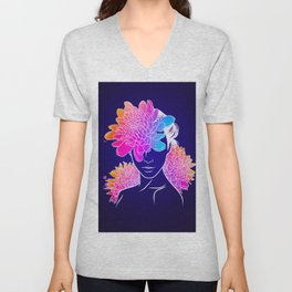 Neon Chrysanthemum Unisex V-Neck