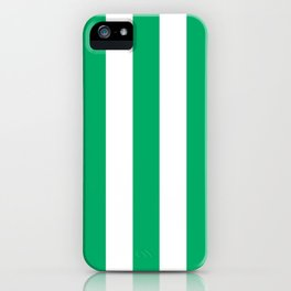 GO green - solid color - white vertical lines pattern iPhone Case