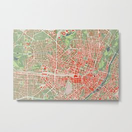 Munich city map classic Metal Print