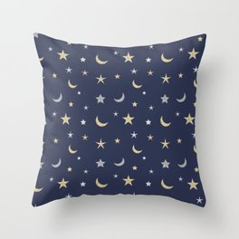 Gold and silver moon and star pattern on navy blue background Throw Pillow