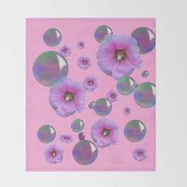PINK-PURPLE FLOATING HOLLYHOCKS & SOAP BUBBLES PINK  ART Throw Blanket