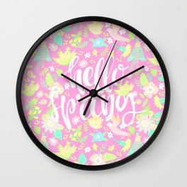 Hello Spring (Soft Peach) Wall Clock