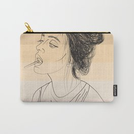 Simple Skintones Drawing of Woman Sucking Lollipop Carry-All Pouch