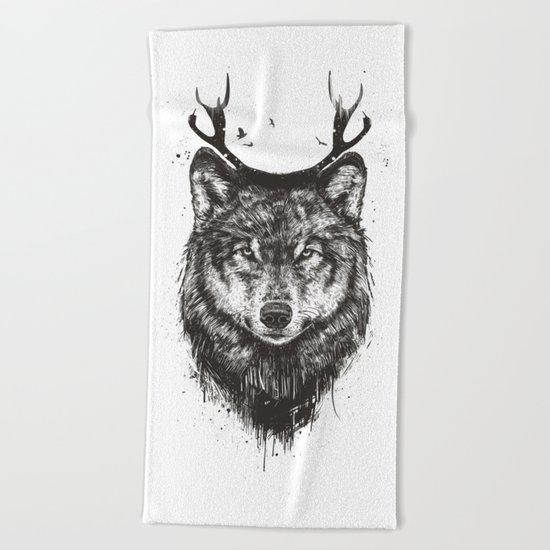 Deer wolf (b&w) Beach Towel