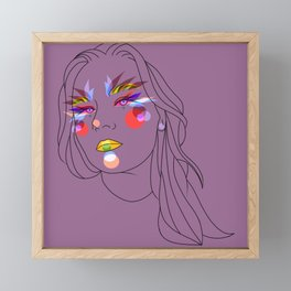 Girl in violet Framed Mini Art Print