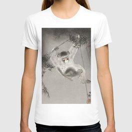 Monkey hanging from tree - Japanese vintage woodblock print T-shirt
