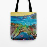otters Tote Bags featuring Otters at the Beach by Caroline Scagel
