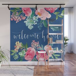 Welcome Home Blue and Pink Floral Wall Mural