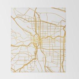 PORTLAND OREGON CITY STREET MAP ART Throw Blanket