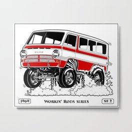 1969 GASSER VAN – Rev 2 RED Metal Print