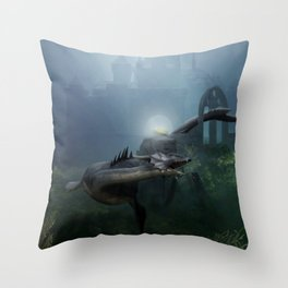 A castle in the ocean Throw Pillow