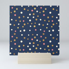 Hipster navy blue faux gold glitter modern polka dots Mini Art Print
