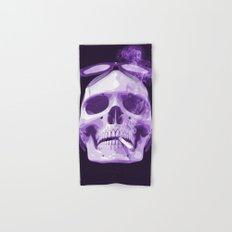 Skull Smoking Cigarette Purple Hand & Bath Towel