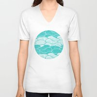 calm V-neck T-shirts featuring The Calm and Stormy Seas by Pom Graphic Design