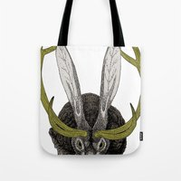 jackalope Tote Bags featuring Jackalope by Justin McElroy