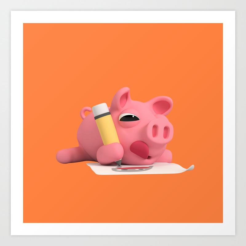 Rosa the pig drawing art print