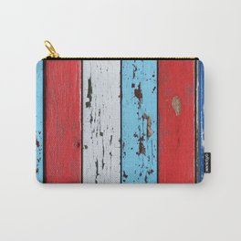 Multicolored Wooden Planks Carry-All Pouch