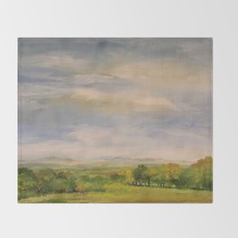 Scenic Autumn Late Afternoon in Vermont Nature Art Landscape Oil Painting Throw Blanket