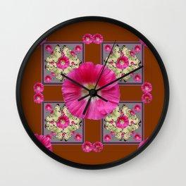 COFFEE BROWN CERISE HOLLYHOCKS BUTTERFLY DESIGN Wall Clock