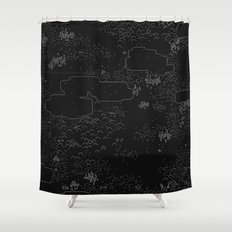 land of 15 towns and a cemetary · negative ⎌ Shower Curtain