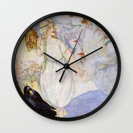 """""""Gerda and the Ravens"""" Fairy Art by Anne Anderson Wall Clock"""