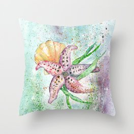 Starfish Watercolor Art Illustration Throw Pillow