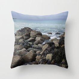 Waves Crashing on Seaweed Covered Rocks Throw Pillow