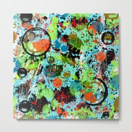 Food Fight Abstract Metal Print