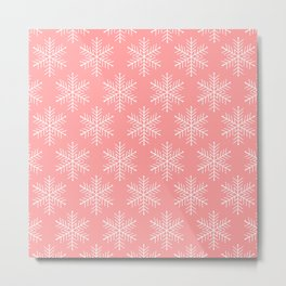 Light Red Snowflakes Metal Print
