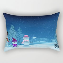 Snowman family in a moonlit winter landscape at night Rectangular Pillow