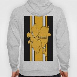 Pittsburgh City Map Black Gold Stripes Hoody