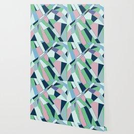 Pink navy blue green hand drawn geometrical pattern Wallpaper
