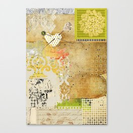 Neutral & Green Abstract Art Collage Canvas Print