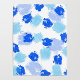 Blue paint brush effect surface pattern Poster