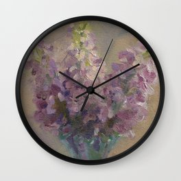 Delphiniums in a Glass Vase Wall Clock
