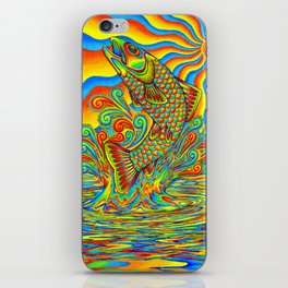 Psychedelic Rainbow Trout Fish iPhone Skin