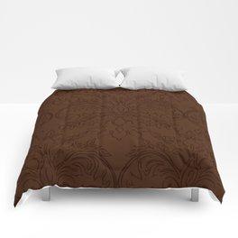 Dark Chocolate Damask Line Work Fleur de Lis Pattern Artwork Comforters