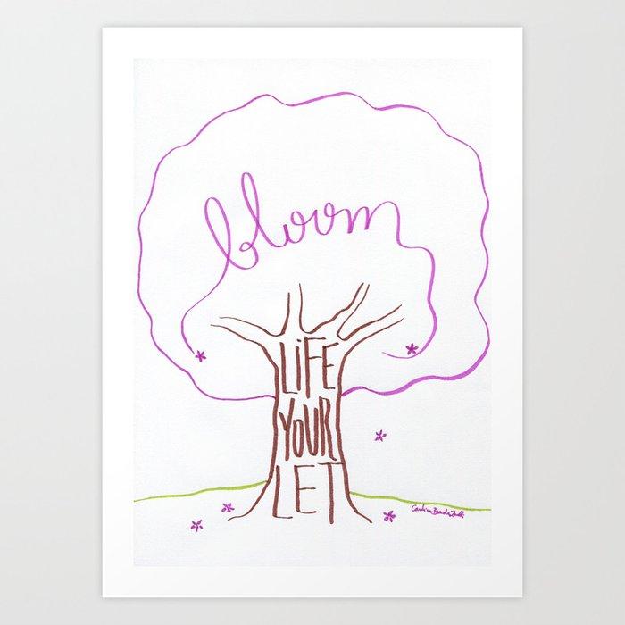 Let your life bloom (purple) Art Print
