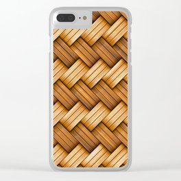 Yellow basket fiber knitted  background Clear iPhone Case