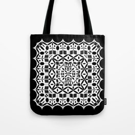 Mandala Square Black Tote Bag