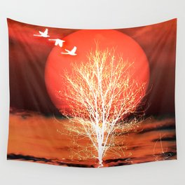 Sun in red Wall Tapestry