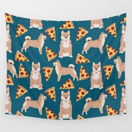 shiba inu pizza dog breed pet pattern dog mom Wall Tapestry